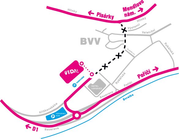 Mapa dostupnosti našeho science centra – autem