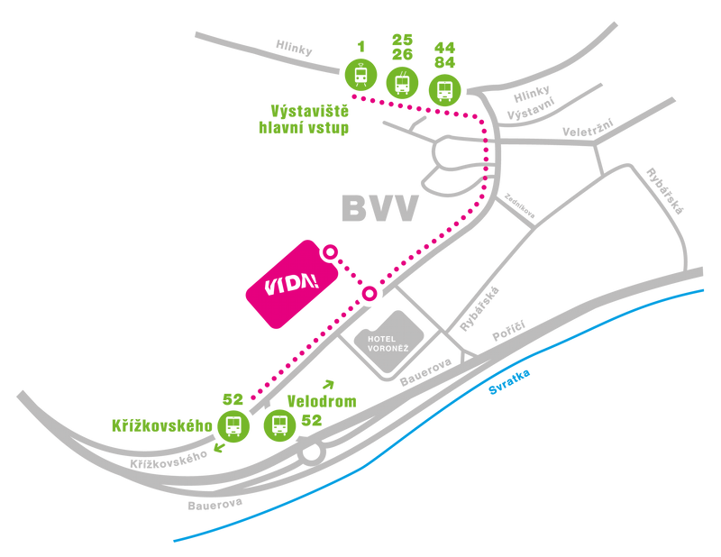 Mapa dostupnosti našeho science centra – MHD