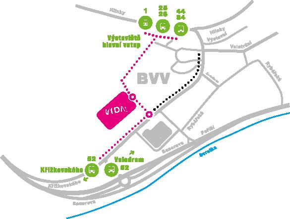 Mapa dostupnosti našeho science centra – cesta z nádraží.