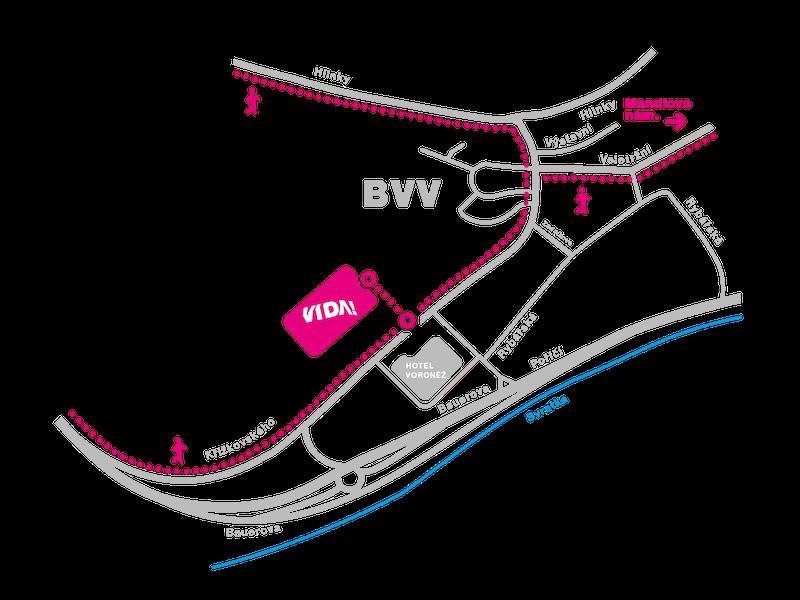 Mapa dostupnosti našeho science centra – pěšky